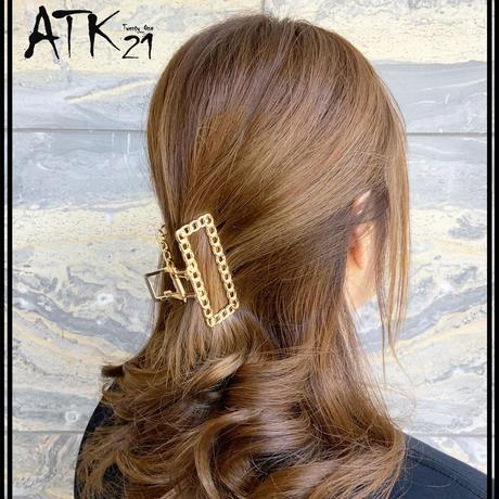 チェーンモチーフ スクエア メタル バンスクリップ シンプル ヘアクリップ 髪留め 簡単ヘアアレンジ レディース ヘアアクセサリー