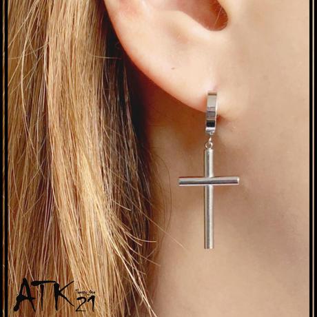 片耳用(1個売り)クロス 十字架 ぶら下がり フープ ピアス ステンレス サージカルステンレス316L 18G メンズ レディース ユニセックス アクセサリー