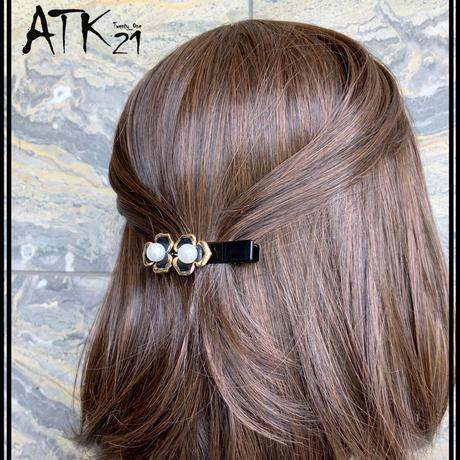 フラワー お花 パール 上品  ヘアクリップ ダッカールクリップ 髪留め レディース きれい目 ヘアアクセサリー