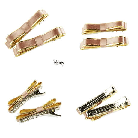 (2本セット)リボン ゴールドライン 光沢カラー ヘアクリップピン ダッカール シンプル 前髪 レディース ヘアアクセサリー 大人可愛い:HD151201
