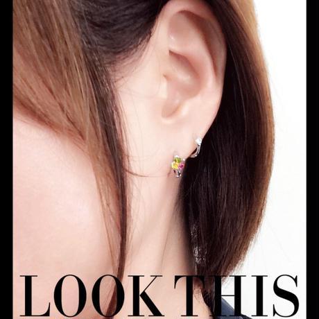 両耳用(2個セット) オーロラ スワロフスキー SWAROVSKI フープ リング ピアス ラウンドリングピアス大人コーデ レディース アクセサリー✧ラッピング無料BOX付✧:PSW150201