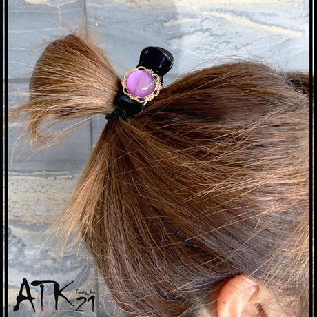 アンティークボタン レトロ 透明感 おしゃれ キレイ目 大人アクセ バンスクリップ 髪留め しっかり留まる レディース 簡単ヘアアレンジ ヘアアクセサリー