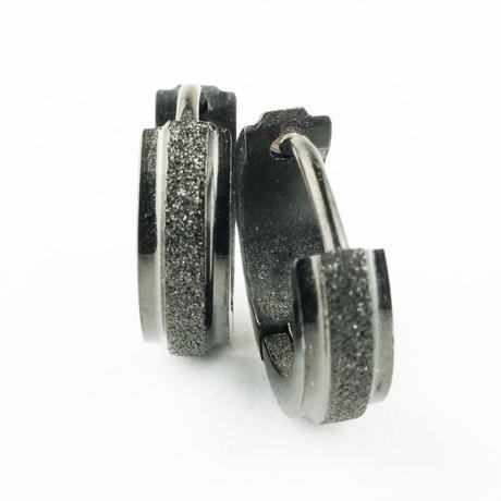 両耳用(2個セット) シンプル 黒サンドブラスト フープピアス リングピアス ブラックカラー ステンレスピアス メンズ レディース アクセサリー