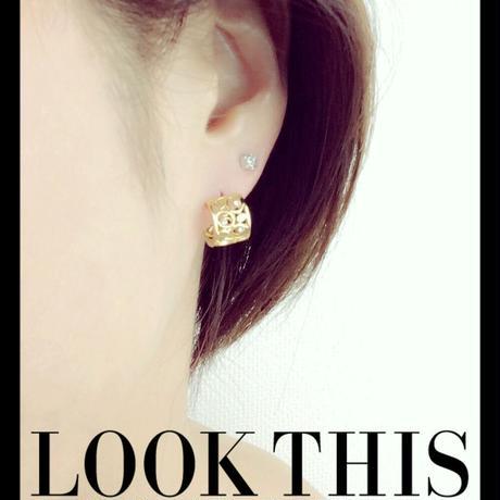 両耳用(2個セット) 透かし ストーン キュービックジルコニア ゴールド フープ リング ミニ プチ ピアス シンプル メンズ レディース おしゃれ アクセサリー:MPB160307