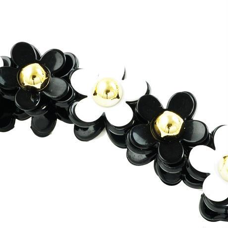 お花 フラワー モノトーン バナナクリップ ヘアクリップ レディース 簡単ヘアアレンジ ヘアアクセサリー
