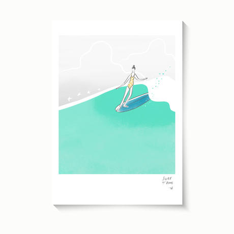 オリジナルアート「SURF W/BIRDS」