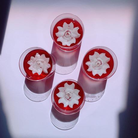 全国発送の注文はこちらから【同梱なので送料お得】花のカタチのミルクゼリー 赤4個セット×2箱 合計8個でワンセット