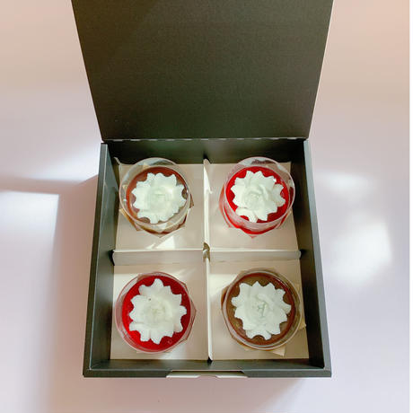 全国発送注文はこちらから 花のカタチのミルクゼリー黒と赤 4個セット