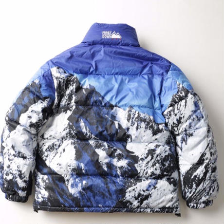 FIRST DOWN POLY PRINT REVERSIBLE BUBBLE DOWN JACKET (MULTI/BLACK)