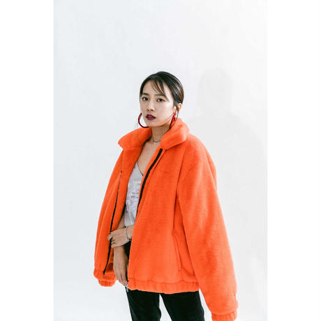"NEMES GALFY×NEMES ""GF"" Fur Jacket (Orange)"