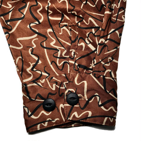 JOHN SOFIA Retro Leaf Halfzip LS Shirt (BROWN)