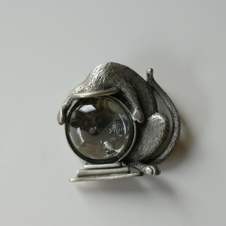 【New Vintage Stock】JJジェイジェイ 猫 キャット 金魚鉢 シルバー ブローチ/ ヴィンテージ・コスチュームジュエリー