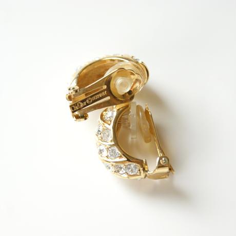 Christian Diorクリスチャン・ディオール ラインストーン フープイヤリング / ヴィンテージアクセサリー