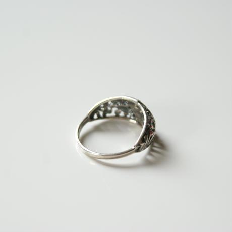 シルバー925 ジルコニア アールヌーヴォー リング指輪 / ヴィンテージジュエリー・アクセサリー