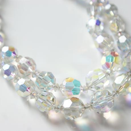 オーロラ ガラス グラデーション クリスタル 2連 ネックレス / ヴィンテージ・コスチュームジュエリー