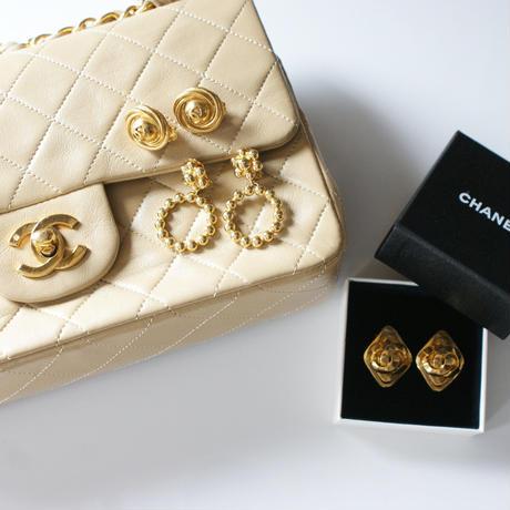 Christian Diorクリスチャン・ディオール バブル フープ フラワー イヤリング / ヴィンテージ・コスチュームジュエリー