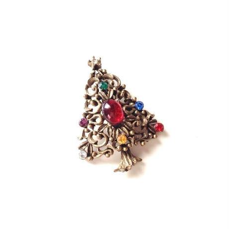 JJジェイジェイ クリスマスツリー レッド カボション ラインストーン ブローチ / ヴィンテージアクセサリー