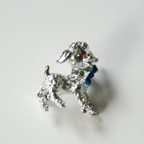 子羊 ブルー エナメル リボン ミニブローチ  / ヴィンテージ・コスチュームジュエリー