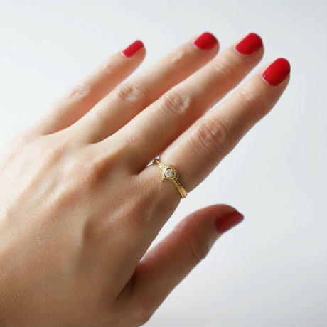 K18YG  ダイヤモンド  ハート リング指輪 / ヴィンテージジュエリー・アクセサリー