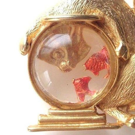 JJジェイジェイ  猫キャット金魚鉢 / ヴィンテージブローチ