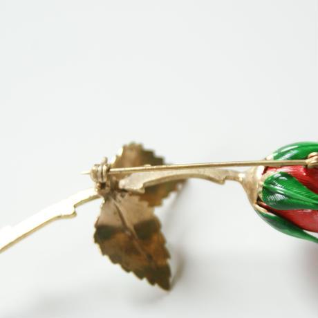 GIOVANNI 薔薇 ローズ エナメル ブローチ/ ヴィンテージ・コスチュームジュエリー