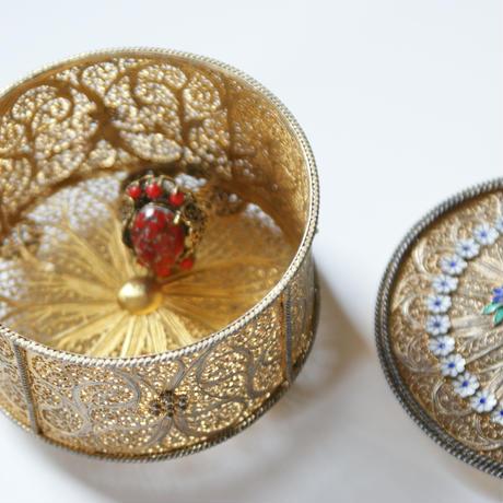 Czechoslovakiaチェコ 製  レッドガラス リング指輪 / ヴィンテージ・アンティークジュエリー