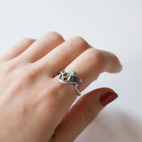 【ロシア買付】シルバー925 ユリ ターコイズ リング指輪 / ヴィンテージジュエリー・アクセサリー