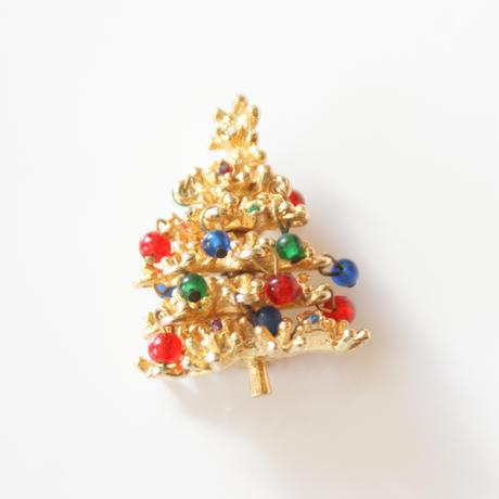 3Dクリスマスツリー ガラス ビーズ ブローチ/ ヴィンテージ・コスチュームジュエリー