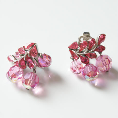TRIFARIクラウントリファリ ピンク オーロラ ラインストーン イヤリング / ヴィンテージ・コスチュームジュエリー