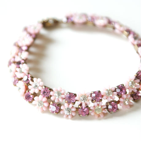 LERU ピンク ラインストーン フラワー ブレスレット / ヴィンテージ・コスチュームジュエリー