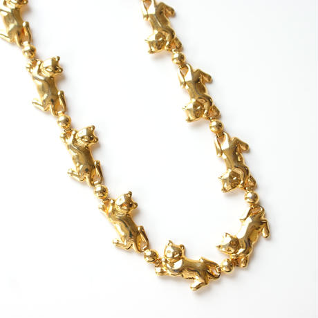 ヴィンテージ 猫キャットモチーフ / ゴールドネックレス