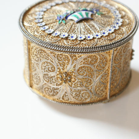 PORTUGALポルトガル製   フィリグリー カンティーユ エマイユ 七宝 ジュエリーボックス 小物入れ/ アンティーク雑貨