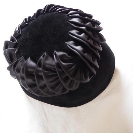 MADE IN ITALY イタリア製 フェルト ブラック黒 帽子ハット/ ヴィンテージ レディース ファッション