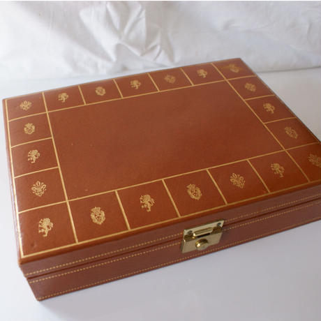 ヴィンテージ  メンズ カフス ジュエリーボックス ブラウン レザー ゴールド 紋章 / アンティーク雑貨