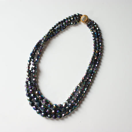 Special price【スペシャルプライス】オーロラ ブラック ガラス ビーズ 3連 ネックレス / ヴィンテージアクセサリー・コスチュームジュエリー