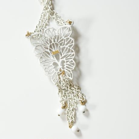 TRIFARIトリファリ ホワイト  エナメル  チェーン ネックレス / ヴィンテージ・コスチュームジュエリー