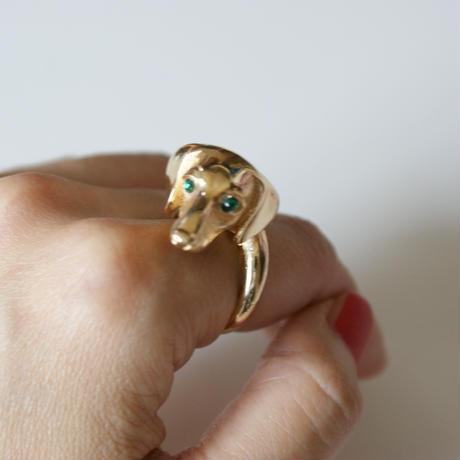 TRIFARIクラウントリファリ  ミニチュアダックス犬 エメラルドグリーン 指輪 リング  / ヴィンテージ・コスチュームジュエリー