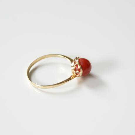 K18YG  赤珊瑚 リング指輪 / ヴィンテージジュエリー・アクセサリー