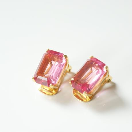 Christian Diorクリスチャン・ディオール スクエア ピンク ガラス イヤリング / ヴィンテージ・コスチュームジュエリー