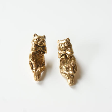 AVONエイボン 猫キャット リボン 2WAY ピアス / ヴィンテージジュエリー・アクセサリー