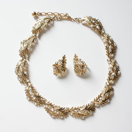 TRIFARIトリファリ 珊瑚 リーフ ラインストーン ネックレス&イヤリング セット / ヴィンテージ・コスチュームジュエリー