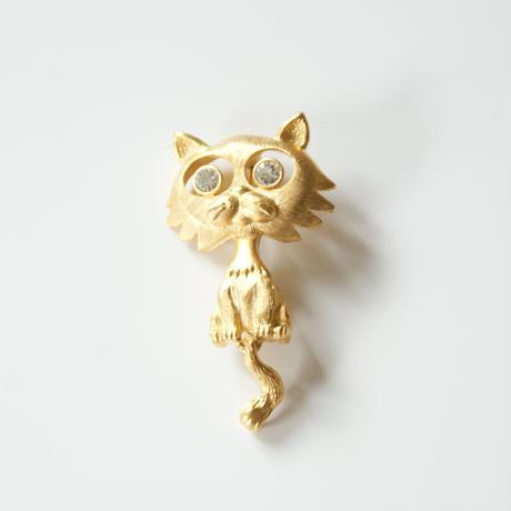 DANECRAFTダンクラフト 猫 キャット ラインストーン ブローチ  / ヴィンテージ・コスチュームジュエリー