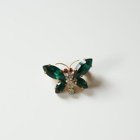 AUSTRIAオーストリア 製  グリーン ガラス バタフライ ミニブローチ / ヴィンテージ・アンティークジュエリー