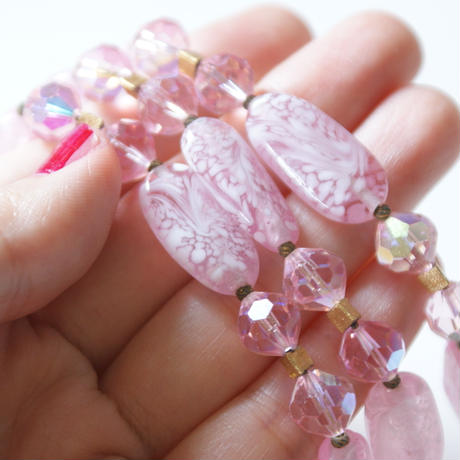 TRIFARIトリファリ ピンク ホワイト マーブル ガラス ブレスレット/ ヴィンテージアクセサリー・コスチュームジュエリー
