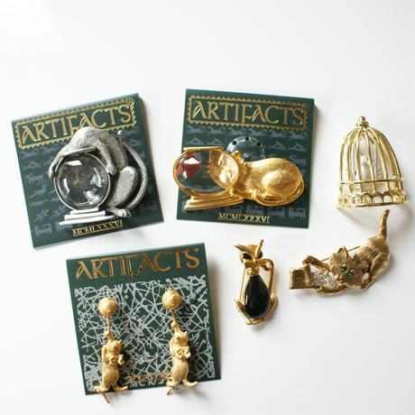 【New Vintage Stock】JJジェイジェイ 猫 キャット 金魚鉢 ブローチ/ ヴィンテージ・コスチュームジュエリー