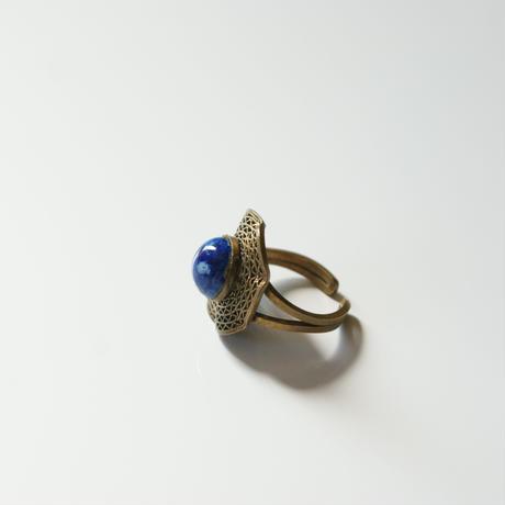 チェコガラス ラピスラズリブルー フィリグリー ウェーブ リング指輪 / ヴィンテージジュエリー・アクセサリー