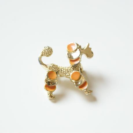 GERRY'S オレンジ エナメル プードル犬 ブローチ / ヴィンテージアクセサリー