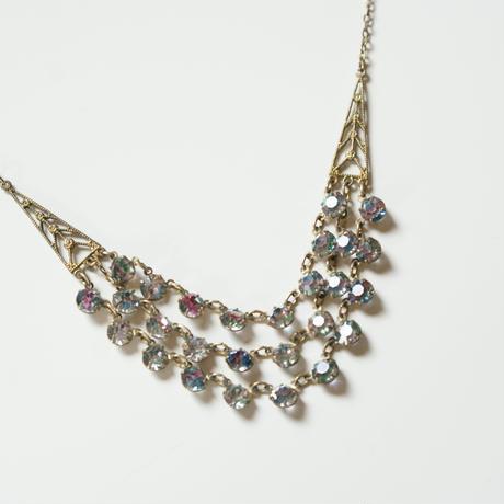 【イギリス買付】アイリスガラス 3連 ネックレス/ ヴィンテージ・アンティークジュエリー
