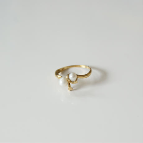 K18YG  真珠 リボンリング指輪 / ヴィンテージジュエリー・アクセサリー