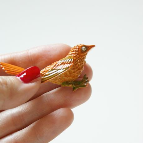 オレンジ エナメル バード 鳥 ブローチ / ヴィンテージジュエリー  ・アクセサリー